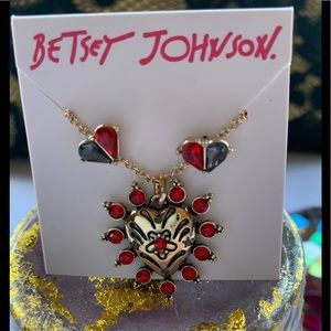 Betsey Johnson Pave Heart Necklace & Earring Set